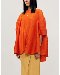 Pleats Please Issey Miyake Boat-neck Oversized Woven Pleated Top - Orange