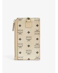 MCM Visetos Coated Canvas Neck Strap Card Holder - Natural