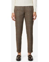 Sessun Checked Tapered Mid-rise Stretch-woven Trousers - Brown