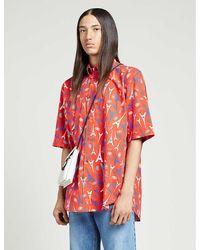 Balenciaga Branded Graphic-print Regular-fit Woven Shirt - Red