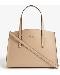 COACH Charlie Leather Tote Bag - Natural