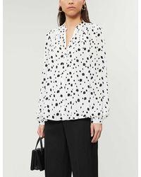 Ted Baker Heiike Polka-dot Loose-fit Crepe Shirt - White