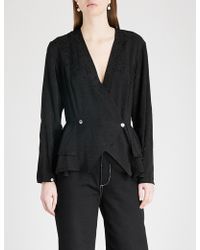Kitri - Persephone Double-breasted Jacquard Blouse - Lyst