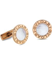 BVLGARI - - 18ct Pink-gold And Mother-of-pearl Cufflinks, Men's, Pink - Lyst