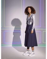 Dior Belted Woven Midi Skirt - Purple