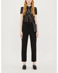 Maje Lace And Crepe Jumpsuit - Black