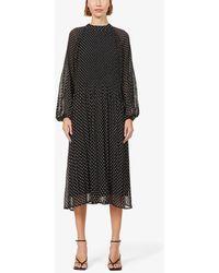 Kitri Sofiane Polka Dot-print Woven Midi Dress - Black