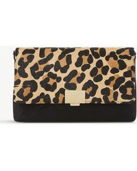 Dune - Bellairs Leopard-print Pony And Suede Clutch - Lyst