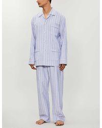 Derek Rose Mens Blue Stripes Arran Cotton Pyjama Set