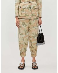 Miu Miu Camouflage-print Tapered High-rise Cotton-drill Pants - Multicolor