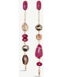 d665447fa94f Kendra Scott - Cosette Asymmetric 14ct Rose Gold-plated Brass And Maroon  Jade Drop Earrings