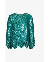 Beyond Retro Pre-loved Long-sleeved Sequin Top - Green
