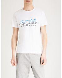 BOSS Green Logo-print Cotton-jersey T-shirt - White
