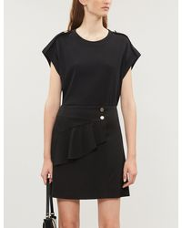 Sandro Flared-detail Stretch-satin Skirt - Black