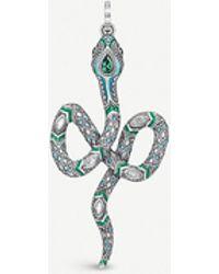 Thomas Sabo Tropical Sterling Silver And Coloured Stone Snake Pendant - Metallic