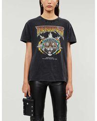 The Kooples Tiger-print Vintage-effect Cotton T-shirt - Black