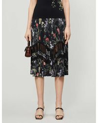 Ted Baker Highland Crepe And Lace Midi Skirt - Black