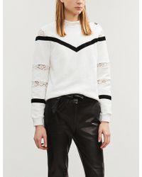 Claudie Pierlot - Tami Lace And Velvet-detail Cotton-jersey Sweatshirt - Lyst