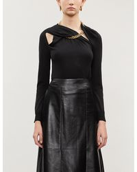 Oscar de la Renta Chain-detail Silk Sweater - Black