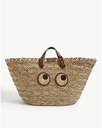 Anya Hindmarch Paper Eyes Large Straw Tote Bag - Natural