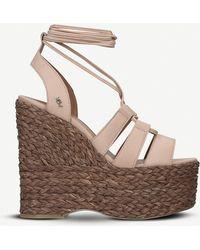 Kurt Geiger Nova Leather Lace-up Wedge Sandals - Brown