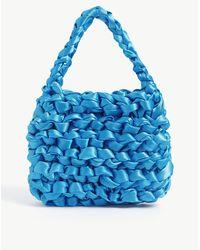 Miista Theodore Knotted Satin Mini Tote Bag - Blue