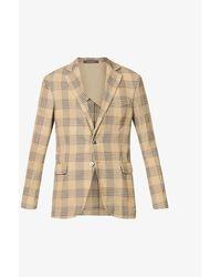 Oscar Jacobson Mens Beige Egel Slim-fit Cotton-blend Blazer 40 - Natural