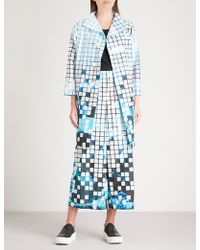 Issey Miyake - Square-detail Graphic-print Woven Coat - Lyst