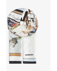 Burberry Animal And Logo-print Silk Scarf - Multicolor