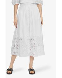 Ted Baker Greycie Embroidered Cotton Midi Skirt - White
