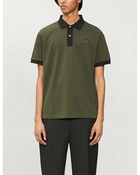 Prada Logo-badge Cotton-pique Polo Shirt - Green