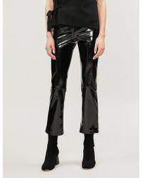 Maje Paveli Zipped-cuff High-rise Vinyl Pants - Black