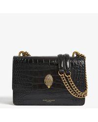 Kurt Geiger Shoreditch Croc-embossed Leather Cross-body Bag - Black