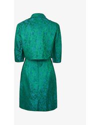 Beyond Retro Pre-loved 1950s Floral-jacquard Woven Two Piece Dress And Jacket Set - Green
