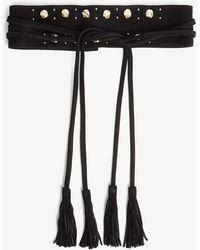 Maje Tassel Wide Suede Belt - Black