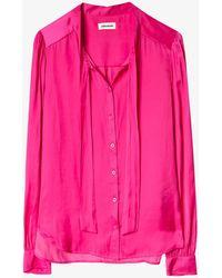Zadig & Voltaire Taos Satin-crepe Shirt - Pink