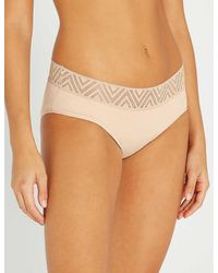 THINX Hiphugger Lace And Stretch-organic Cotton Period Briefs - Natural