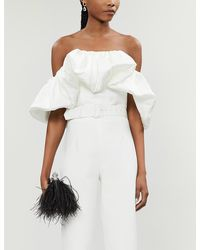 Solace London Margot Strapless Ruched Woven Top - White