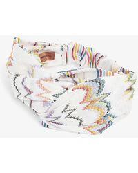 Missoni Zig-zag Stripe Knotted Headband - White
