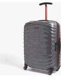 Samsonite Eclipse Grey And Red Stripe Lite Shock Spinner Four Wheel Cabin Suitcase - Gray