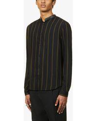 The Kooples Mandarin-collar Striped Crepe Shirt - Black