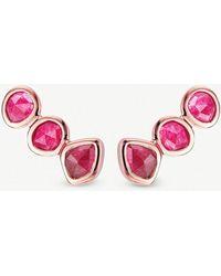 Monica Vinader - Siren 18ct Rose-gold Vermeil And Pink Quartz Climber Earrings - Lyst