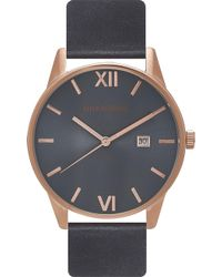 Unknown Un14da02 The Dandy Stainless Steel And Leather Watch - Blue