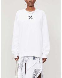 Leo Tarot-print Relaxed-fit Cotton-blend Sweatshirt - White