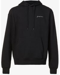 Jacquemus Le Sweatshirt Brode Brand-embroidered Organic-cotton Hoody - Black