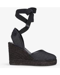 L.K.Bennett Womens Bla-black Sophie Ankle-tie Denim Wedge Sandals 5