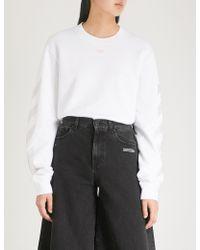 Off-White c/o Virgil Abloh - Strass-embellished Cotton Sweatshirt - Lyst