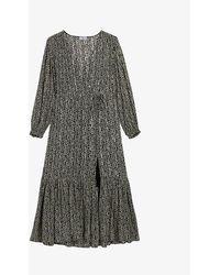 Claudie Pierlot Ripon Printed V-neck Crepe Maxi Dress - Gray