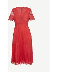 Ted Baker Semi-sheer Floral-lace Midi Dress - Red