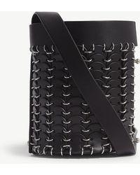 Paco Rabanne - Black Open Design Leather Mini Bucket Bag - Lyst